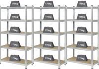 Nagy teherbírású polcos állvány 175 kg, 900 x 1800 x 400 mm, fém/MDF fa polcokkal, ónozott, 3 db, Basetech 2142910 Basetech