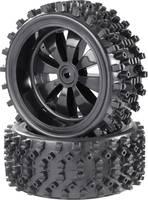 Reely 1:6 Buggy Komplett kerék Block-Spike 8 küllős Fekete (fényes) 2 db Reely