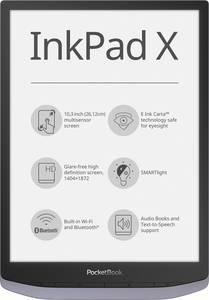 PocketBook InkPad X E-könyv olvasó 26.2 cm (10.3 coll) Fémes, Szürke PocketBook
