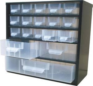 Alkatrésztároló szekrény 18 részes fiókkal 310x155x285mm Viso VISO