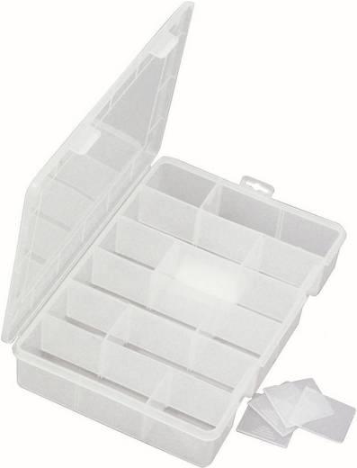 Zárható fedeles alkatrésztároló doboz 18 rekeszes Viso