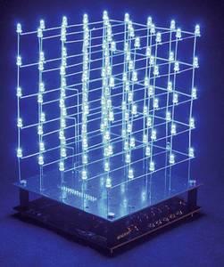 LED-es 3D-s kék fénykocka építőkészlet 9V Velleman K8018B Velleman