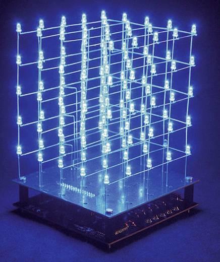 LED-es 3D-s kék fénykocka építőkészlet 9V Velleman K8018B