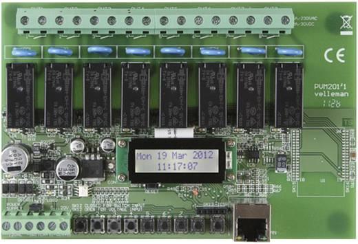 Velleman Ethernet relékártya VM201 Modul 12 V/AC Kimeneti feszültség 8 db relé érintkező, 12 A/30 V/DC vagy 16 A/230 V/A