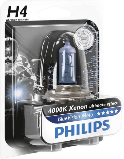 Gépjármű izzó, Philips BlueVision Moto H4 12 V 12 V P43t, kék (átlátszó)