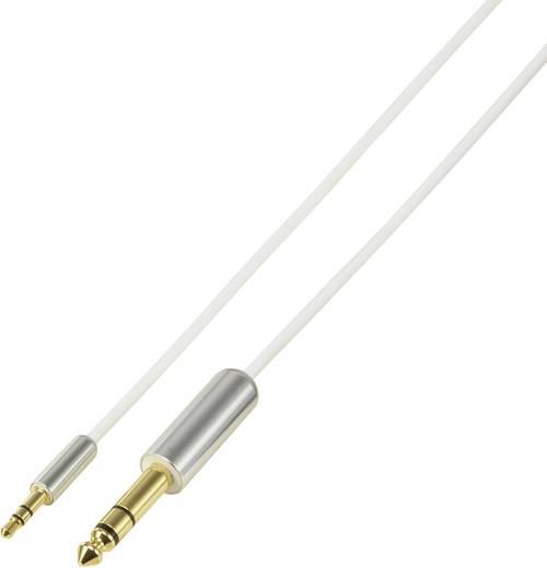 Jack audio kábel [1x jack dugó 6,35 mm - 1x jack dugó 3,5 mm] 5 m, fehér SuperSoft, aranyozott SpeaKa