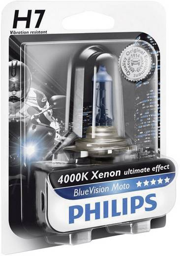 Gépjármű izzó, Philips BlueVision Moto H7 12 V 12 V P43t, átlátszó