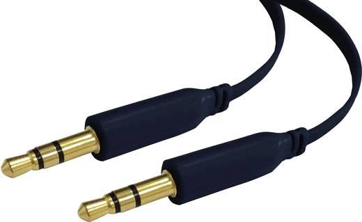 Jack audio kábel, 1x 3,5 mm jack dugó - 1x 3,5 mm jack dugó, 2 m, fekete, lapos, SpeaKa Professional 1000568