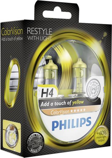 Philips Colorvision H4 12 V 1 pár P43t Sárga