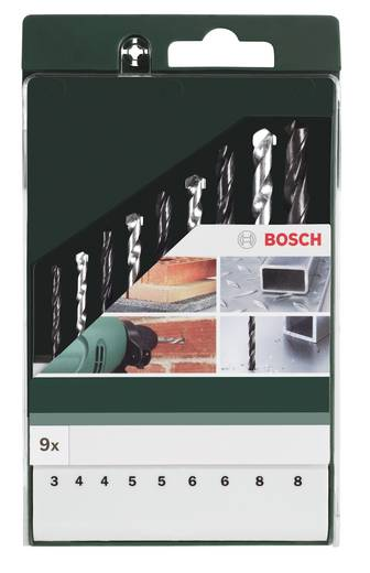 Bosch 9 részes fúrószár készlet, fémfúró, falfúró és kőzetfúró készlet Bosch 2609255482