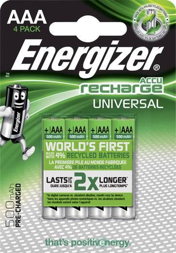 Mikroceruza akku AAA NiMH, 1,2V 500 mAh, 4 db, Energizer Universal HR3, HR03, UO100557, DC2400, DC2400B4N, LR03