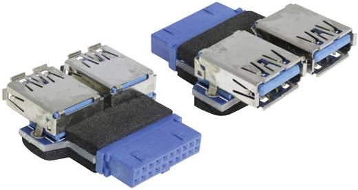 USB 3.0 adapter [1x USB 3.0 alj belső 19 pólusú - 2x USB 3.0 alj A] kék Delock