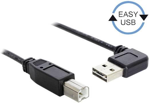 USB kábel könyök dugóval [1x USB 2.0 dugó A - 1x USB 2.0 dugó B] 2 m Fekete Delock 1007863