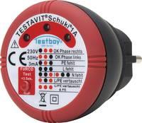 Konnektor teszter, hálózati csatlakozóaljzat vizsgáló Testboy Testavit Schuki® 1A  Testboy