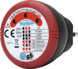 Konnektor teszter, hálózati csatlakozó bekötés vizsgáló Testboy Testavit® Schuki® 3A Testboy