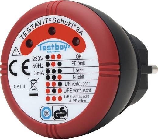Konnektor teszter, hálózati csatlakozó bekötés vizsgáló Testboy Testavit® Schuki® 3A