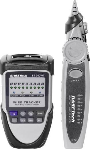 Vezetékvizsgáló kábelteszter és hanggenerátoros vezetékkereső RJ11/RJ45 max. 1 km vezetékhosszig Basetech BT-300 WT