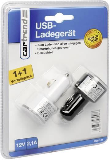 Szivargyújtó adapter, USB töltő, kettős aljzattal 2,1A Cartrend 80257