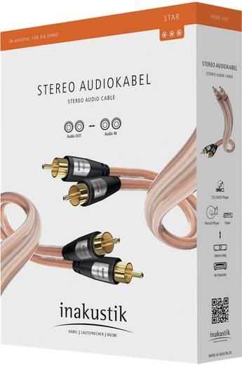 RCA audio kábel, 2x RCA dugó - 2x RCA dugó, 5 m, aranyozott, átlátszó, Inakustik 1012784
