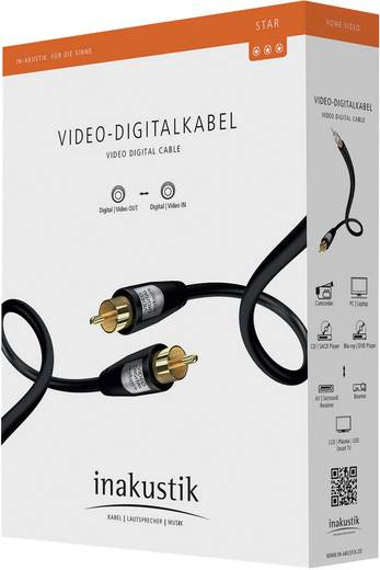Kompozit RCA video kábel, 1x RCA dugó - 1x RCA dugó, 10 m, fekete, Inakustik