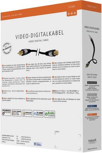 Kompozit RCA video kábel, 1x RCA dugó - 1x RCA dugó, 0,75 m, fekete, Inakustik