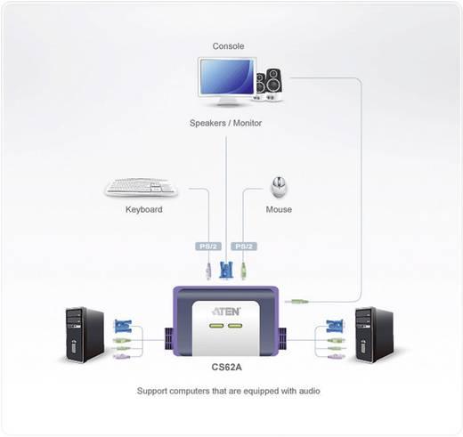 2 portos KVM switch, átalakító kábel PS/2 és VGA csatlakozókkal Aten CS62AZ-AA
