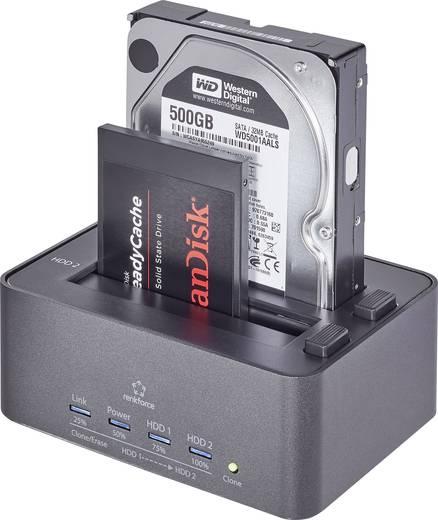 USB 3.0 SATA merevlemez dokkoló állomás klónozó és törlő funkcióval, Renkforce