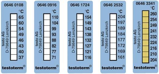 Öntapadós, felragasztható hőmérőcsík, 50 x 18 mm, 71/77/82/88/93/99/104/110 °C-ig Testo Testoterm