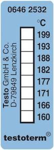 Öntapadós, felragasztható hőmérőcsík, 50 x 18 mm, 161/169/172/177/184/189/197/204 °C-ig Testo Testoterm testo