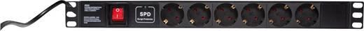 19-os rackszekrénybe építhető konnektorsáv, 6 részes hálózati elosztó LogiLink PDU6C01