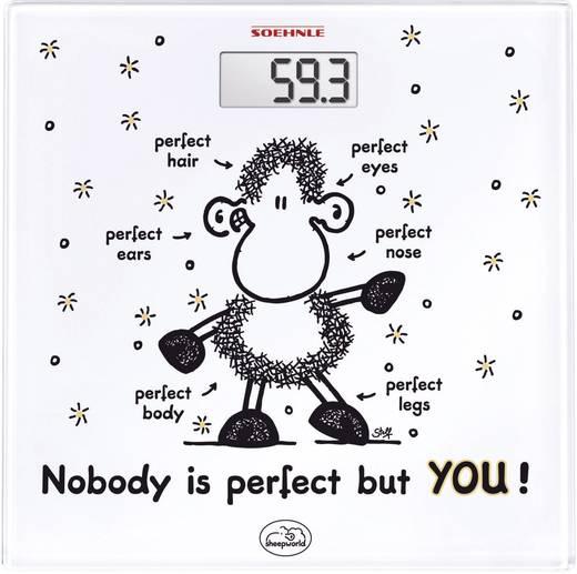 Digitális üveg személymérleg 180 kg, fehér, Soehnle sheepworld Nobody is perfect but YOU!