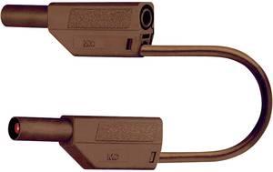Mérőzsinór, mérővezeték 4 mm-es banándugóval, 2,5 mm² PVC 25 cm, barna, MultiContact SLK425-E Stäubli