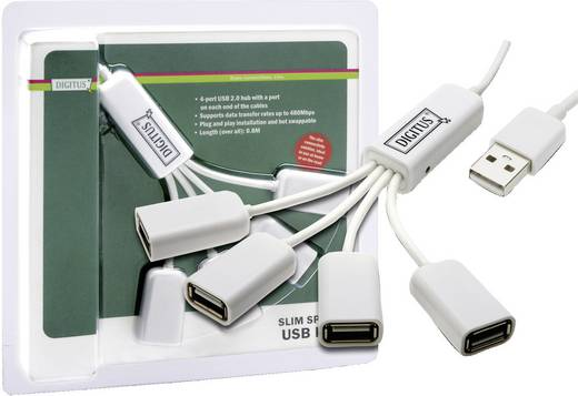 USB hub, 4 portos, DIGITUS Slim Spider