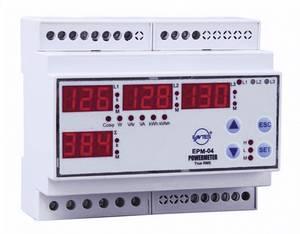 Programozható 3 fázisú DIN sínes AC multiméter, feszültség, áram, frekvencia, üzemóra, ENTES EPM-04-DIN ENTES