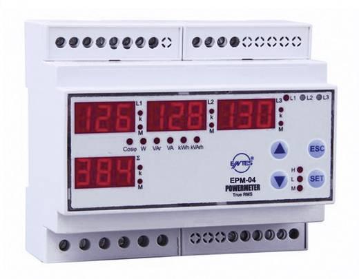 Programozható 3 fázisú DIN sínes AC multiméter, feszültség, áram, frekvencia, üzemóra, ENTES EPM-04-DIN