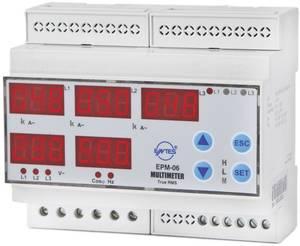 Programozható 3 fázisú DIN sínes AC multiméter, feszültség, áram, frekvencia, üzemóra, ENTES EPM-06-DIN ENTES