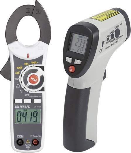 Infrahőmérő IR-260-8S és AC/DC lakatfogó multiméter VC-521 hordtáskával, készletben Voltcraft VC-TEST-KIT 100