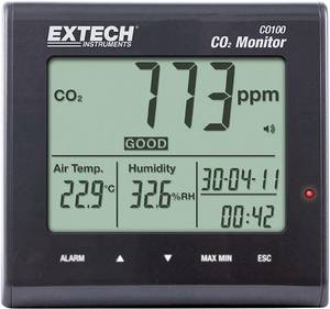 Széndioxid CO2 mérőműszer, levegőminőség mérő 0 - 9999 ppm, Extech CO100 Extech
