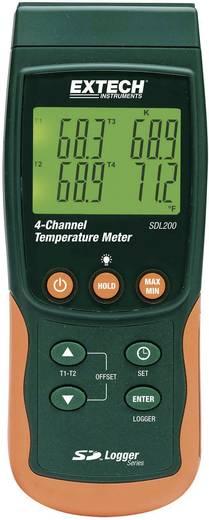 2/4 csatornás hőmérséklet mérő és SD kártyás adatgyűjtő -199 től+1700 °C-ig K-tipusú érzékelővel Extech SDL200