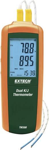 Kétcsatornás hőmérsékletmérő műszer K/J tipusú csatlakozóval -200-tól +1372 °C/J-Tip: -210 tól +1100 °C-ig Extech TM300