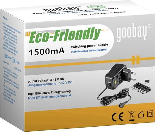Univerzális hálózati adapter, dugasztápegység 3 - 12 V/DC 1500mA Goobay 67952