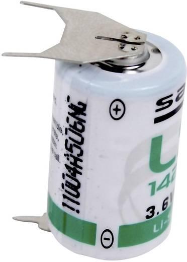 1/2 AA lítium elem, forrasztható, 3,6V 1200 mAh, forrfüles, 15 x 25 mm, Saft LS142503PF