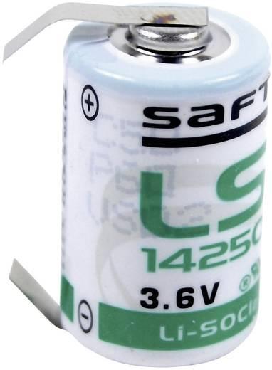1/2 AA lítium elem, forrasztható, 3,6V 1200 mAh, forrfüles, 15 x 25 mm, Saft LS14250CLG