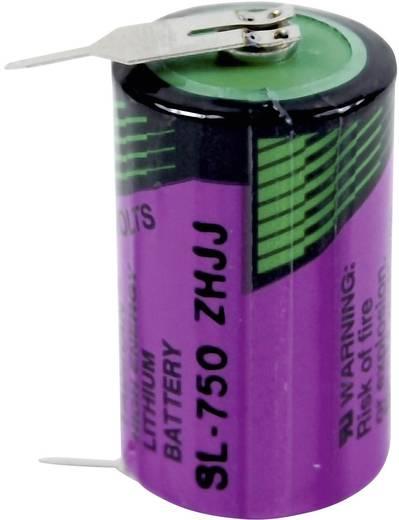 1/2 AA lítium elem, forrasztható, 3,6V 1100 mAh, forrfüles, 15 x 25 mm, Tadiran SL750PR