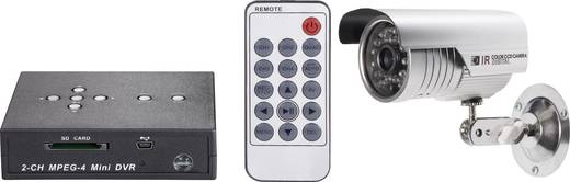 Távfelügyeleti készlet 2 csatornás SDHC digitális felvevővel és egy 600 TVL, 4,3 mm-es CMOS színes kamerával, renkforce