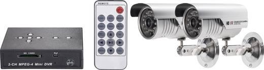 Távfelügyeleti készlet 2 csatornás SDHC digitális felvevővel és két 600 TVL, 4,3 mm-es CMOS színes kamerával, renkforce