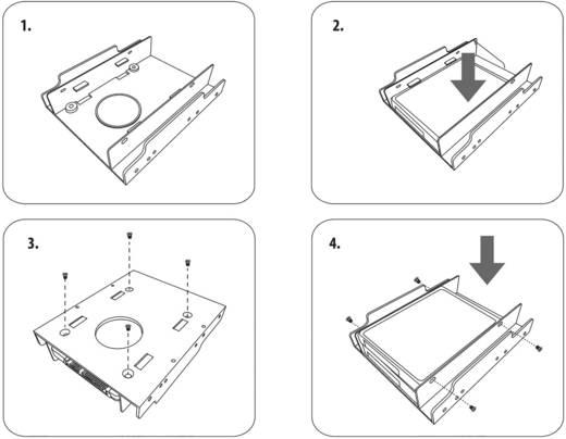 """Dupla 3,5""""-os merevlemez beépítő keret, max. 2 db 2,5""""-os (6,35 cm) SDD merevlemezhez, Renkforce HDA-252P"""