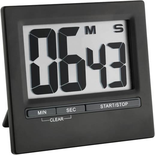 Digitális visszaszámláló óra, időzítő, nagy kijelzővel, 16x84x77 mm, fekete, TFA 38.2013.01