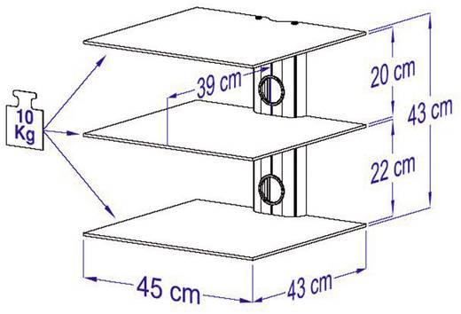 Fali készüléktartó 3részes üvegpolcrendszerrel, fekete színben VCM Trento 3 17894