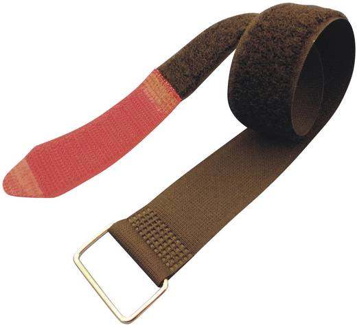 Tépőzár Pánttal, bolyhos és horgos fél (H x Sz) 195 mm x 25 mm, fekete, Piros Fastech F101-25-195M 1 db